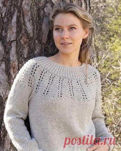 Пуловер на круглой кокетке от Drops