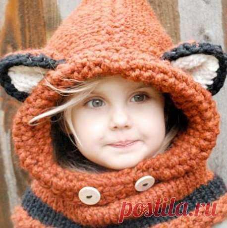Зимняя шапка-шлем для девочки спицами - описание, схемы+фото