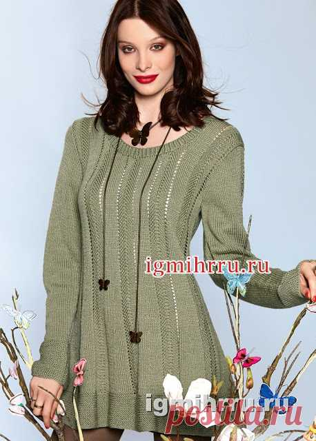 Tunic with vertical openwork strips. Knitting by spokes \u000d\u000aFlared tunic of a quiet olive shade of a yarn,\u000d\u000awith wide levels and vertical openwork strips\u000d\u000acan become one of favourite objects of your clothes\u000d\u000a\u000d\u000a\u000d\u000a\u000d\u000aSizes: 36\/38, 40\/42, 44\/46 …