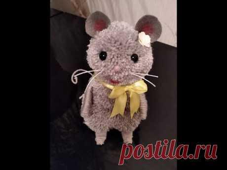 Мышь - своими руками из помпонов.  Handmade mouse - YouTube