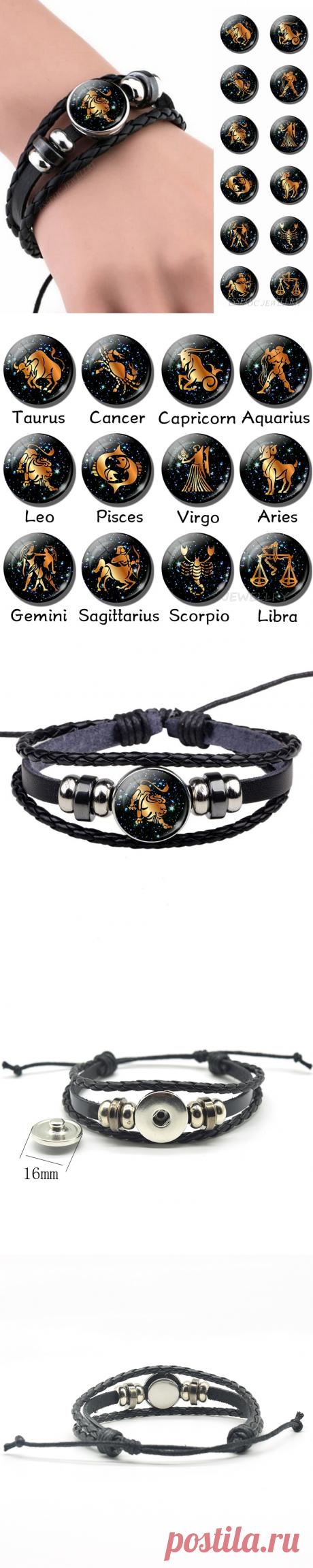 12 Созвездие кожаный браслет Знак зодиака стеклянный кабошон ручной работы черный Панк мужские ювелирные изделия Астрология подарок на день рождения