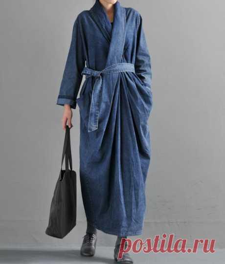 Blue Maxi dress Cowboy dresses for women kaftan dress Women   Etsy