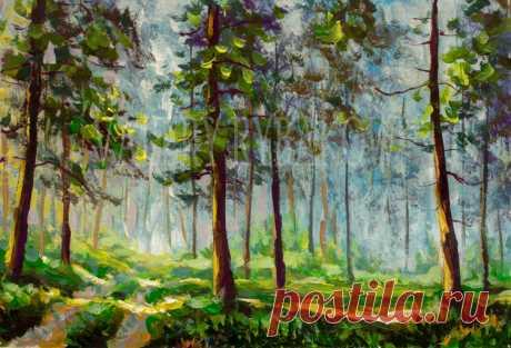"""Лучшего дня, друзья!  .⠀  Картина акрилом на бумаге: """"Прогулка в солнечном лесу"""" Размер картны: 19,5х28см.  Бумага, акрил, вдохновение. . В НАЛИЧИИhttps://art-rybakow.ru/kartina-723/  __________________________________________ Ваш @rybakowvalery"""