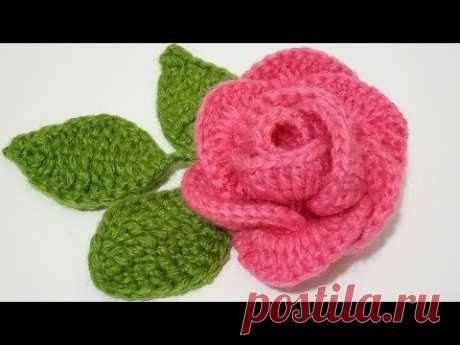 كروشيه ,طريقة عمل وردة سهلة وبسيطة  .DIY CRAFTS.How to Crochet a simple flower