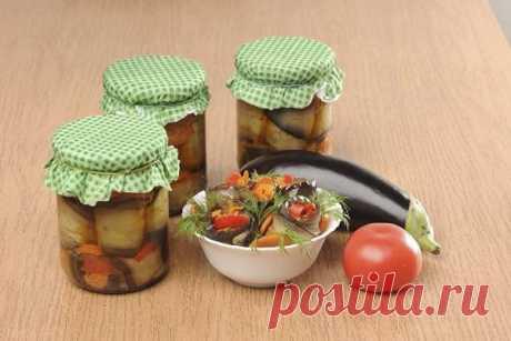 Рулетики из баклажанов с овощами на зиму