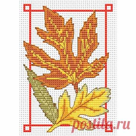 Схема вышивки крестом листья