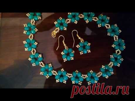 A set of jewelry: necklace and earrings. Комплект украшений. МК