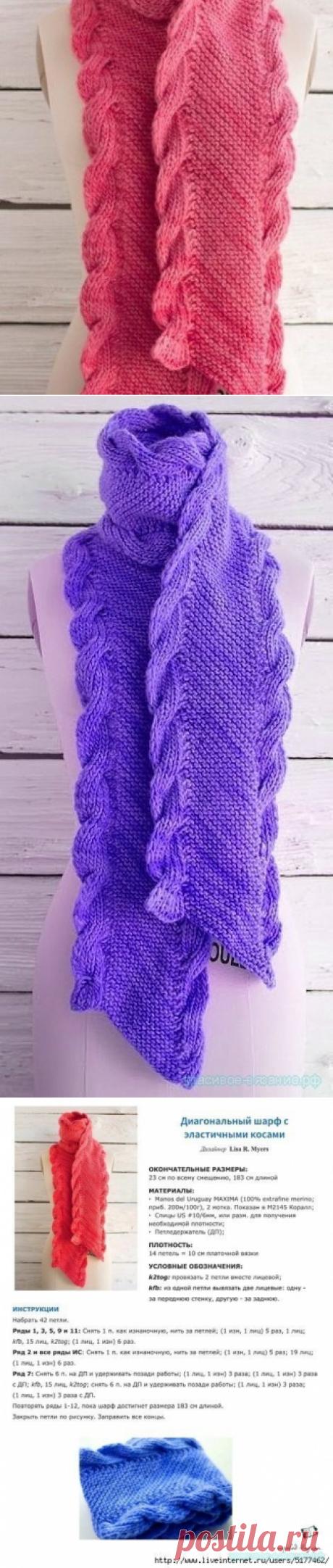 Красивое вязание | Вяжем шарф спицами