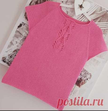 Розовый топ спицами