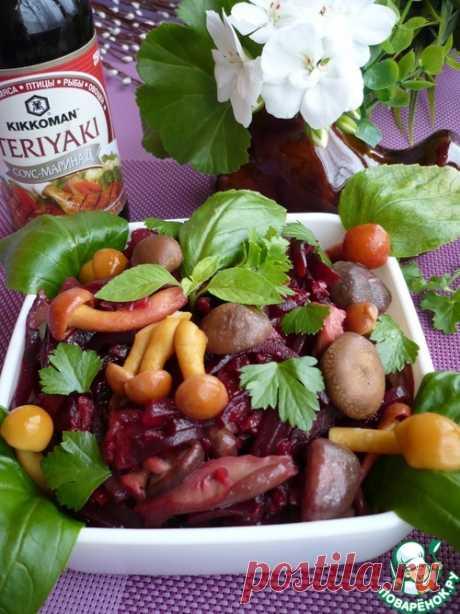 Теплый салат из свеклы с грибами - кулинарный рецепт