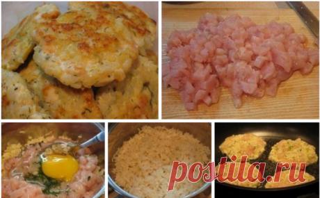 Рубленые куриные котлеты с рисом и перцем