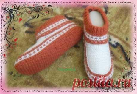 Тапочки спицами » Ниткой - вязаные вещи для вашего дома, вязание крючком, вязание спицами, схемы вязания