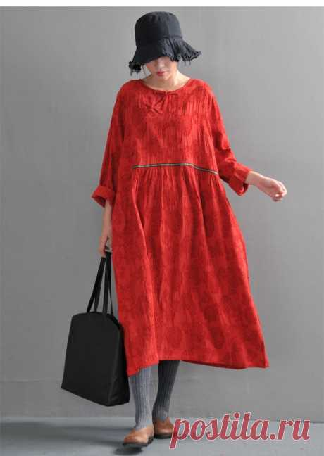 Red Linen Loose Dress-Round Neck Joker Sleeveless Dress-Linen | Etsy
