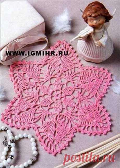 Розовая ажурная салфетка из категории Интересные идеи – Вязаные идеи, идеи для вязания