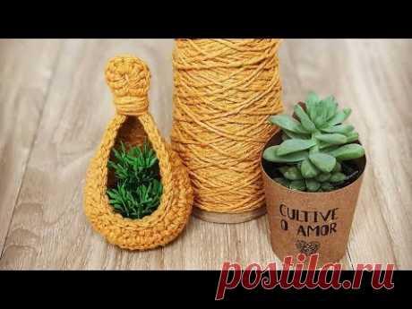 Como Fazer um Ninho ou Cesto de Crochê Para Plantas Suculentas - Tutorial de Crochê - Passo a Passo