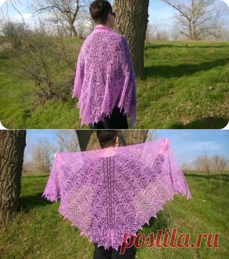 """Шаль """"Цветы Люпина"""" - Вязание шали спицами"""