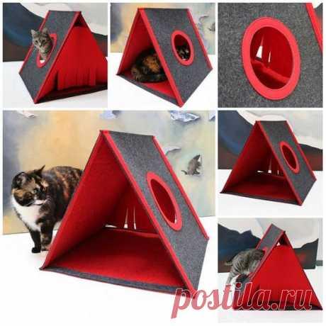 Треугольный домик для домашнего любимчика