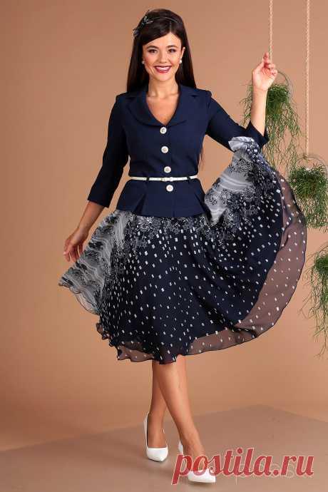 Комплект юбочный Мода-Юрс 2136-1 синий+серые узоры