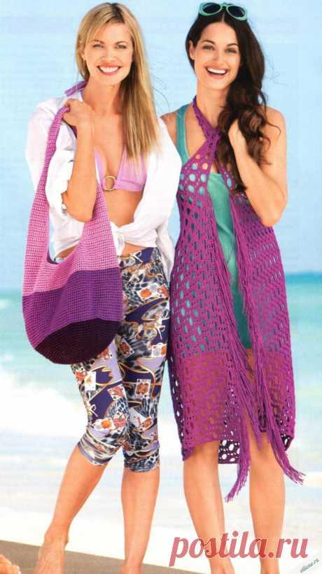 Пляжная сумка и парео, вязаное крючком | Отлично! Школа моды, декора и актуального рукоделия