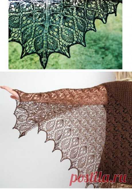 Вязаная спицами шаль Ламинария, Вязание для женщин