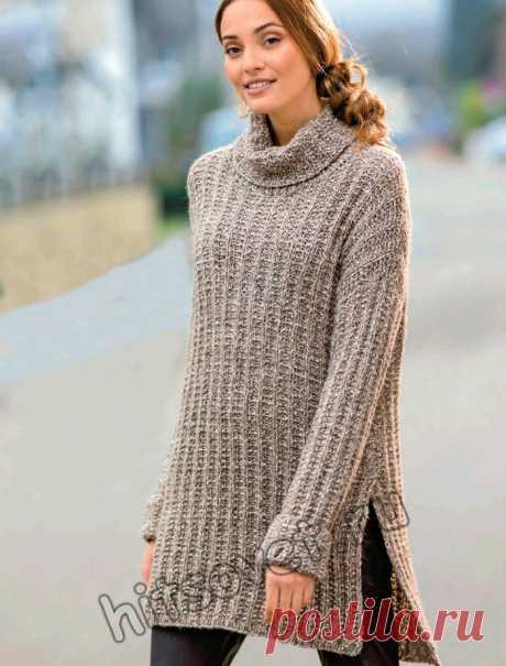 Удлинённый свитер ложной патентной резинкой. Спицами. / Хитсовет