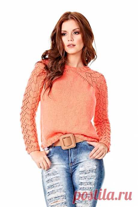 Пуловер с ажурными рукавами связанный спицами. Стильный пуловер спицами  
