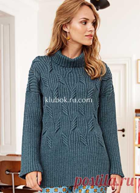 Шикарный свитер с плетеным узором в резинку - Klubok.ru.com