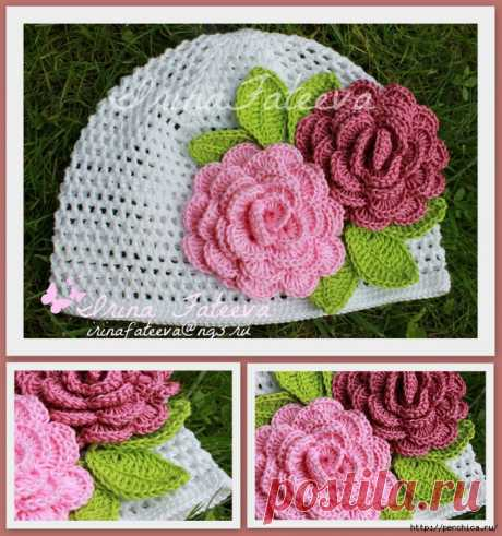 Hat with roses for young women of fashion connected by a hook