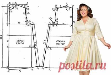 Выкройка простого летнего платья с короткими рукавами (размеры 50-56) - Выкройки платьев для полных женщин