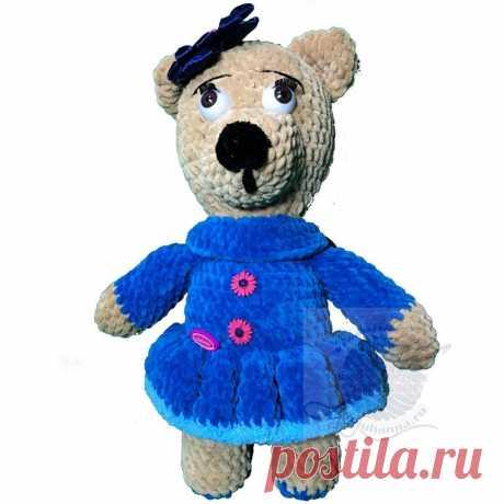 Игрушка мишка в платье плюшевая в Темно голубом платье, 35 смПлюшевый мир Мастерская игрушек Анны Ганоцкой