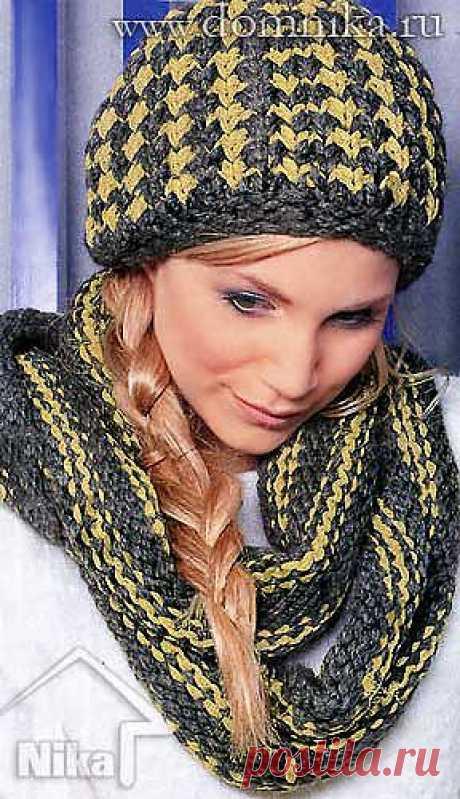 Женская шапка спицами и шарф » Вязание крючком и спицами схемы и модели