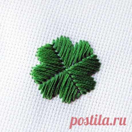 Техника вышивки гладью листика