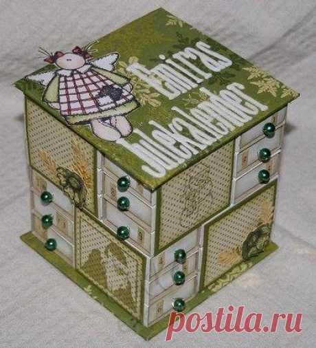 Красивая шкатулка из спичечных коробков для мелочей