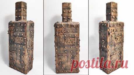 Декор бутылки в стиле стимпанк Подарок мужчине на 23 Февраля