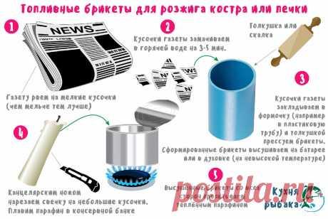Непромокаемые брикеты для розжига печки или костра | Кухня рыбака | Яндекс Дзен