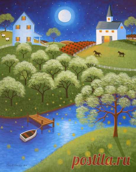 Firefly Lake by Mary Charles Firefly Lake Painting by Mary Charles