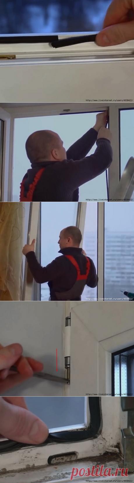 Замена уплотнителя на пластиковых окнах.
