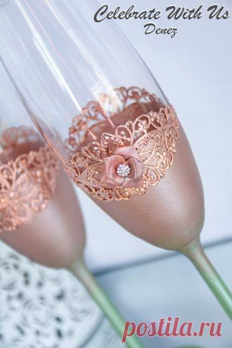 ROSE GOLD Wedding Glasses Toasting Flutes Champagne Flutes