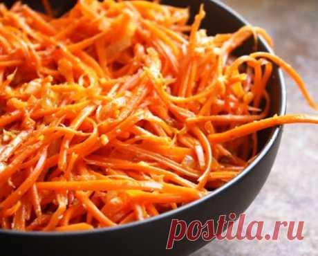 Корейская морковка за 12 часов Пряная острая корейская морковка - отличное дополнение к постному меню, а также незаменимая закуска к праздничному столу