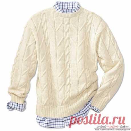 Мужской пуловер с застежкой поло / Вязание спицами / Вязание спицами. Работы пользователей