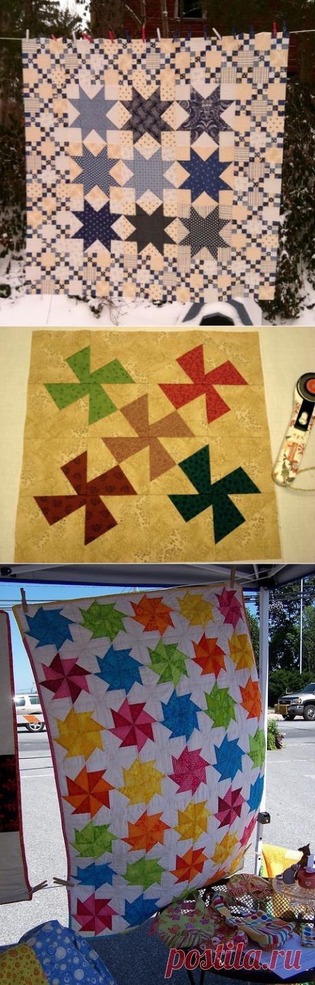 Лоскутная салфетка и покрывало с узором «ветряная мельница» — Рукоделие