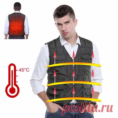Tengoo heated vest electric men's winter down jacket usb charging 3 modes heating vests for outdoor fishing hiking Sale - Banggood.com