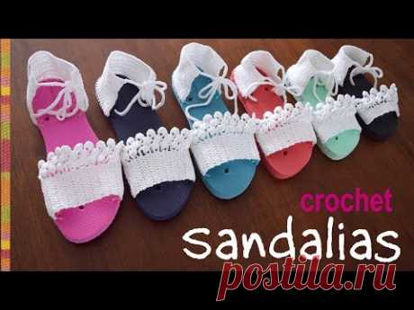 Sandalias tejidas a crochet en 7 tallas/ Tejiendo Perú