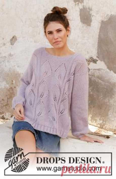 Джемпер Любимый топаз Свободная модель женского пуловера со свободным кроем, связанного на спицах 5 мм из двух видов тонкой пряжи. Детали переда и...