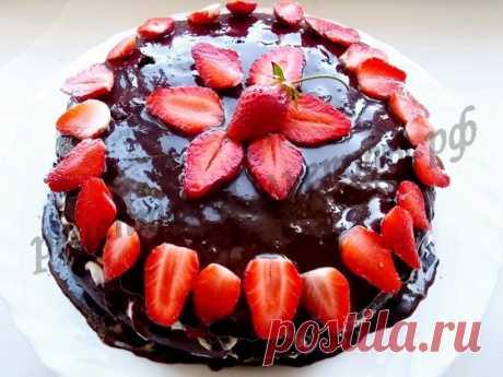 Шоколадный торт с клубникой рецепт с фото