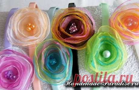 Flowers from organza the hands