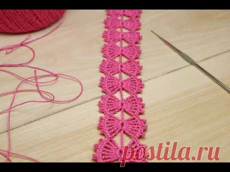 ЛЕНТОЧНОЕ КРУЖЕВО Бантики вязание крючком мастер-класс ПРОСТОЕ ВЯЗАНИЕ для начинающих Crochet
