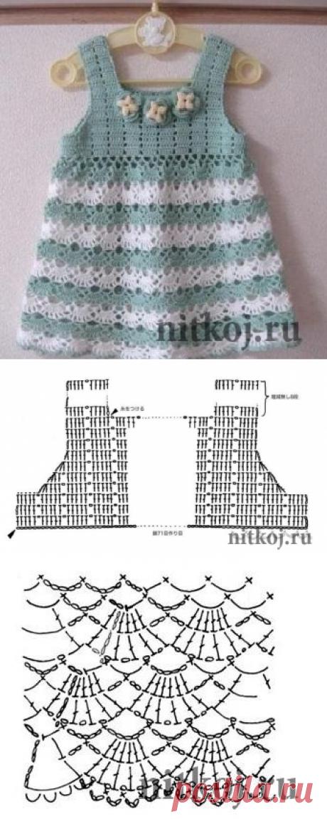Ажурное платье для девочки крючком. » Ниткой - вязаные вещи для вашего дома, вязание крючком, вязание спицами, схемы вязания