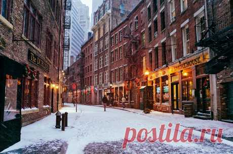 Картинка Нью-Йорк США Manhatt зимние Снег Улица Города Здания