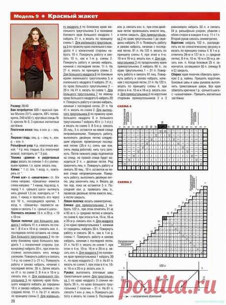 Красивое вязание   Красный жакет